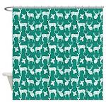 Deer On Teal Shower Curtain