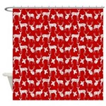 Deer On Red Shower Curtain