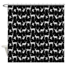 Deer On Black Shower Curtain