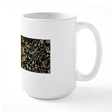Elegant Floral Damasks In Black And Metallic Gold