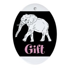 White Elephant Gift Ornament (Oval)