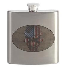 Flag & Skull on Tan Oval Flask