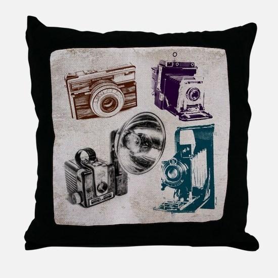 retro photographer vintage camera Throw Pillow