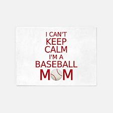I can't keep calm, I am a baseball mom 5'x7'Area R