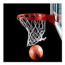 """Basketball Point Square Car Magnet 3"""" x 3"""""""