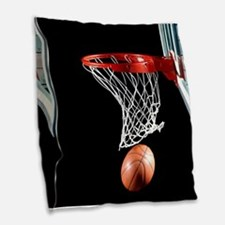 Basketball Point Burlap Throw Pillow