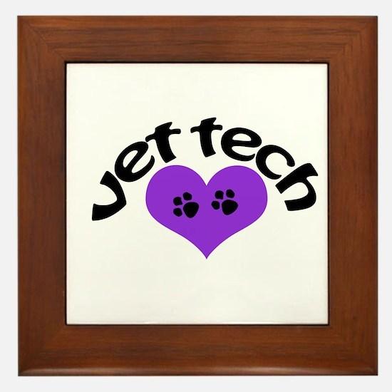 purple paw heart design Framed Tile