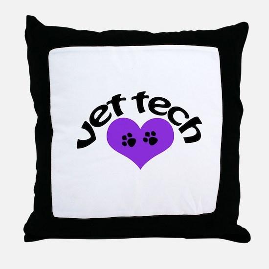 purple paw heart design Throw Pillow