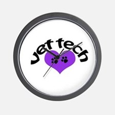 purple paw heart design Wall Clock