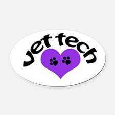 purple paw heart design Oval Car Magnet