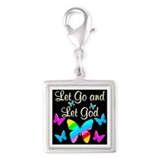 GOD IS GOOD Silver Square Charm