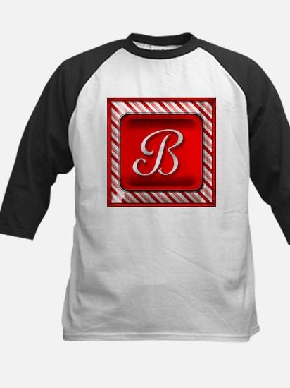 Peppermint Candy Cane Monogram B Baseball Jersey