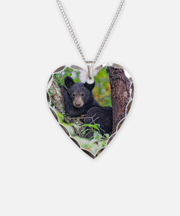 Bear Cub relaxing in Tree Necklace