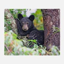 Bear Cub relaxing in Tree Throw Blanket