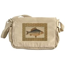 Vintage Carp Freshwater Fish Drawing Messenger Bag
