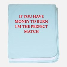 money to burn baby blanket