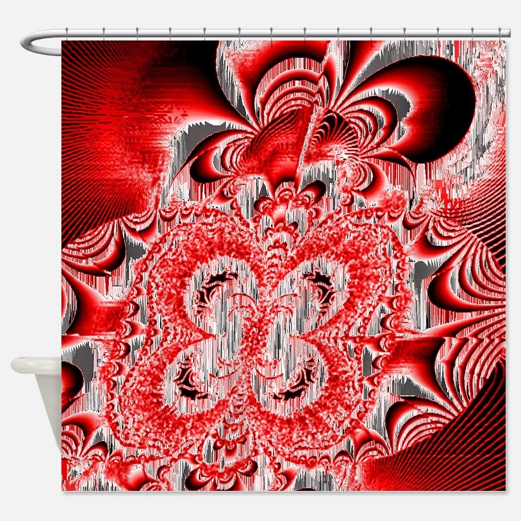 Red White And Black Shower Curtains Red White And Black Fabric Shower Curta