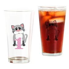 Pink First Birthday Cat Drinking Glass