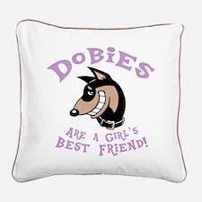 Girl's Best Friend Square Canvas Pillow
