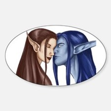 Elf Couple Oval Decal