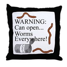 Worms Everywhere Throw Pillow