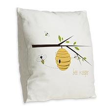 Bee Keeper Burlap Throw Pillow