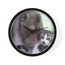 Macque and cat Wall Clock