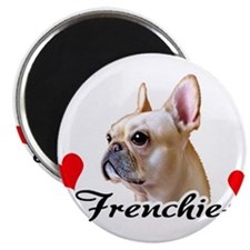 FrenchieCream-Heart-mag rect Magnets