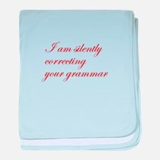 silently correcting grammar-edw-red baby blanket