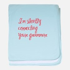 silently correcting grammar-ma red baby blanket