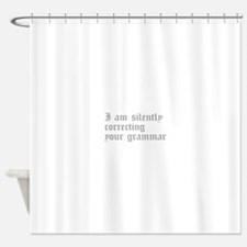 silently correcting grammar-old gray Shower Curtai