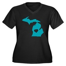 Love MI Women's Plus Size V-Neck Dark T-Shirt