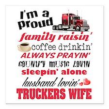 "Husband Lovin' Truckers Wife Square Car Magnet 3"""