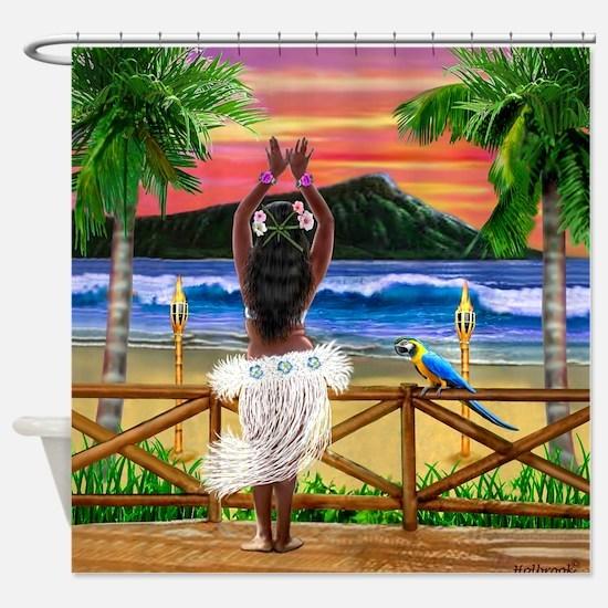 HAWAIIAN SUNSET HULA Shower Curtain