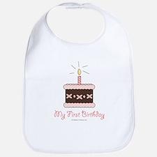 My First Birthday Cake Baby Girl Bib