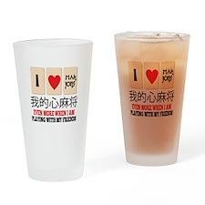 Mah Jong & Friends Drinking Glass