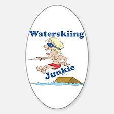 Waterskiing Junkie Oval Decal