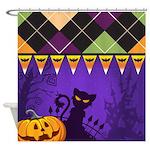 Halloween Argyle Shower Curtain