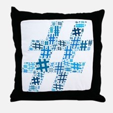 Blue Hashtag Cloud Throw Pillow