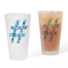 Blue Hashtag Cloud Drinking Glass