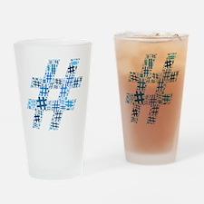 Blue Hashtag Cloud Drinking Glass
