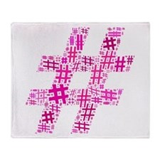 Pink Hashtag Cloud Throw Blanket