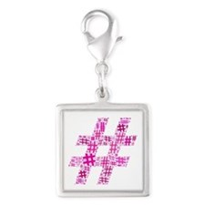 Pink Hashtag Cloud Silver Square Charm