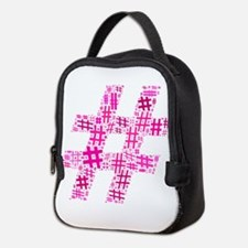 Pink Hashtag Cloud Neoprene Lunch Bag
