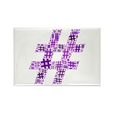 Purple Hashtag Cloud Rectangle Magnet