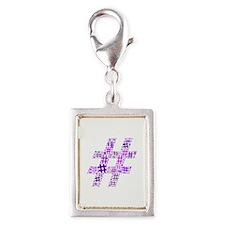 Purple Hashtag Cloud Silver Portrait Charm