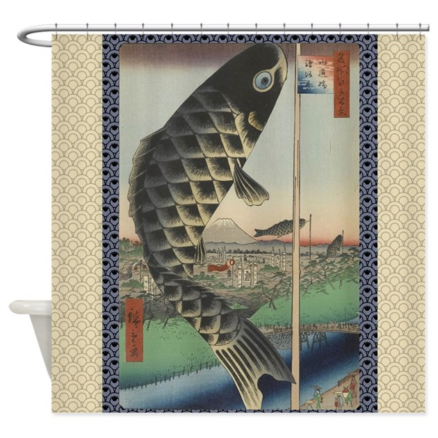 Vintage japanese koi woodblock shower curtain by doodlefly for Koi fish print fabric
