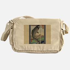 Vintage Japanese Koi Woodblock Messenger Bag