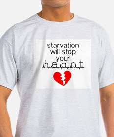 Starvation Stops Your Heart Ash Grey T-Shirt