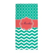 Teal Coral Personalized Beach Towel